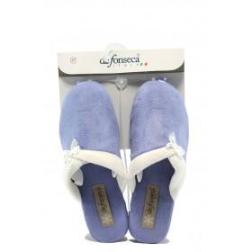 Дамски чехли - висококачествен текстилен материал - сини - EO-7505