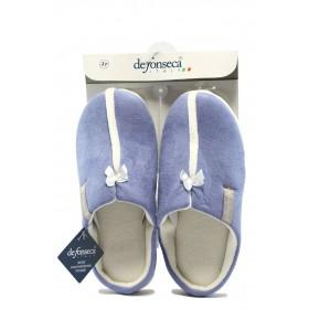 Дамски чехли - висококачествен текстилен материал - сини - EO-7501