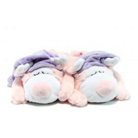 Дамски чехли - висококачествен текстилен материал - розови - EO-7515