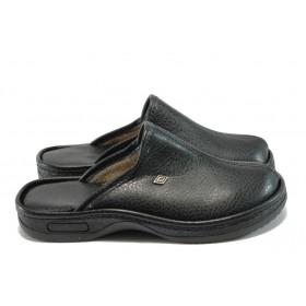 Мъжки чехли - висококачествена еко-кожа - черни - EO-7763