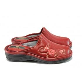 Дамски чехли - висококачествена еко-кожа - червени - EO-7765