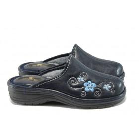 Дамски чехли - висококачествена еко-кожа - сини - EO-7766