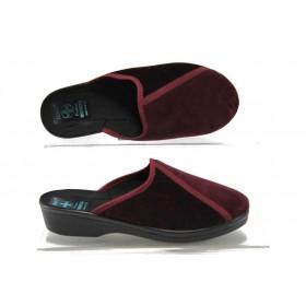 Дамски пантофи - висококачествен текстилен материал - бордо - EO-7801