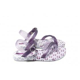 Детски сандали - висококачествен pvc материал и текстил - лилави - EO-6429