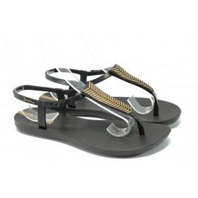 Дамски сандали - висококачествен pvc материал - черни - EO-6444