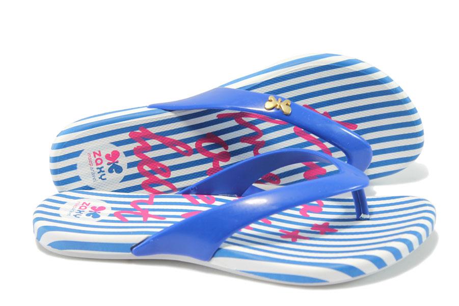 Дамски чехли - висококачествен pvc материал - сини - EO-6461