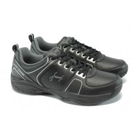 Спортни мъжки обувки - висококачествена еко-кожа - черни - EO-5873