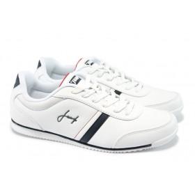 Спортни мъжки обувки - висококачествена еко-кожа - бели - EO-5879
