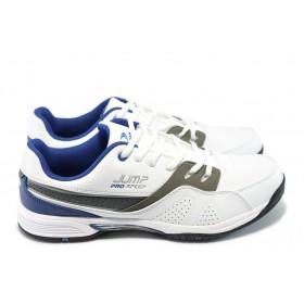 Спортни мъжки обувки - висококачествена еко-кожа - бели - EO-5880