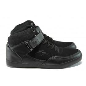 Спортни мъжки обувки - висококачествена еко-кожа - черни - EO-5941