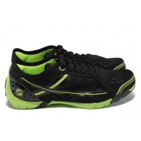 Юношески маратонки - висококачествен текстилен материал - черни - EO-5945