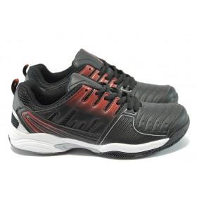 Спортни мъжки обувки - висококачествена еко-кожа - черни - БР 6234 черен
