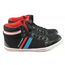Спортни мъжки обувки - висококачествена еко-кожа - черни - БР 8213 черен - 2015