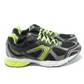 Спортни мъжки обувки - висококачествен текстилен материал - черни - EO-5978
