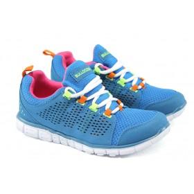 Юношески маратонки - висококачествена еко-кожа - сини - EO-6141