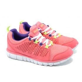Юношески маратонки - висококачествена еко-кожа - розови - EO-6142