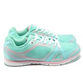 Дамски маратонки - висококачествен текстилен материал - сини - EO-8475