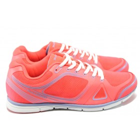 Юношески маратонки - висококачествена еко-кожа - корал - EO-6143