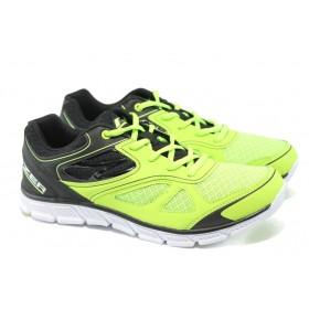 Спортни мъжки обувки - висококачествен текстилен материал - зелени - EO-6145