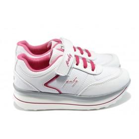 Детски маратонки - висококачествена еко-кожа - бели - EO-6237
