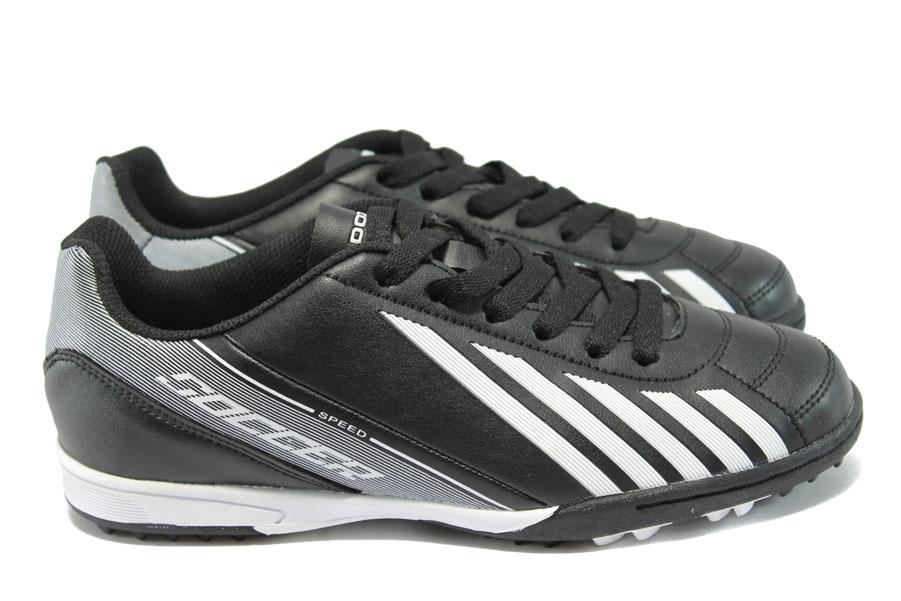 Юношески маратонки - висококачествена еко-кожа - черни - EO-6380
