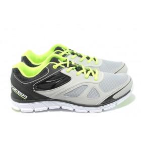 Спортни мъжки обувки - висококачествен текстилен материал - сиви - EO-6381