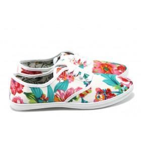 Равни дамски обувки - висококачествен текстилен материал - бели - EO-6400