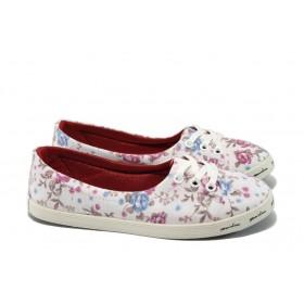 Равни дамски обувки - висококачествен текстилен материал - бели - EO-6631