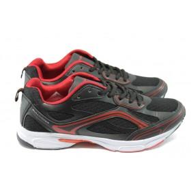 Спортни мъжки обувки - еко-кожа с текстил - черни - БР 6314 черно