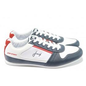Спортни мъжки обувки - естествен велур с еко-кожа - бели - Jump 9784 бели