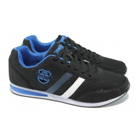 Мъжки маратонки - висококачествен текстилен материал - черни - EO-7848