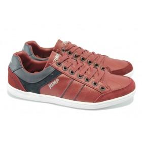 Спортни мъжки обувки - висококачествена еко-кожа - бордо - Jump 10166 бордо