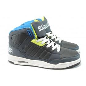 Спортни мъжки обувки - висококачествена еко-кожа - черни - БР 52012 черен-син