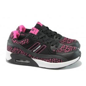 Дамски спортни обувки - висококачествен текстилен материал - черни - БР 52092 черен-циклама