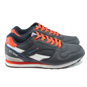 Спортни мъжки обувки - висококачествена еко-кожа - тъмносин - МА 6837 т.син-червен