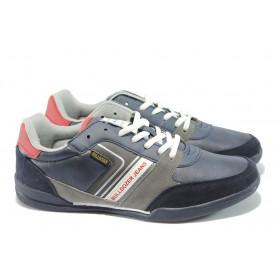 Спортни мъжки обувки - висококачествена еко-кожа и велур - тъмносин - БР 52076 т.син
