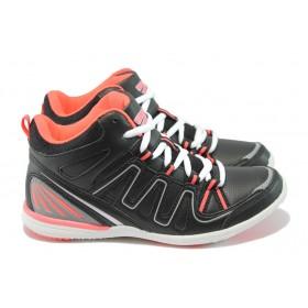 Юношески маратонки - висококачествена еко-кожа - черни - БР 52003 черен-корал
