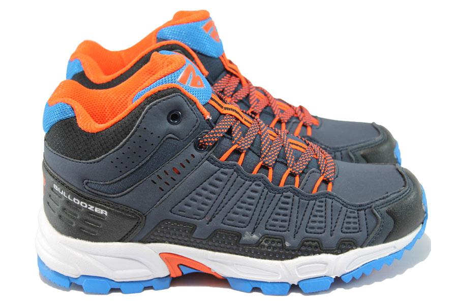 Юношески маратонки - висококачествена еко-кожа - тъмносин - БР 52007 т.син-оранж