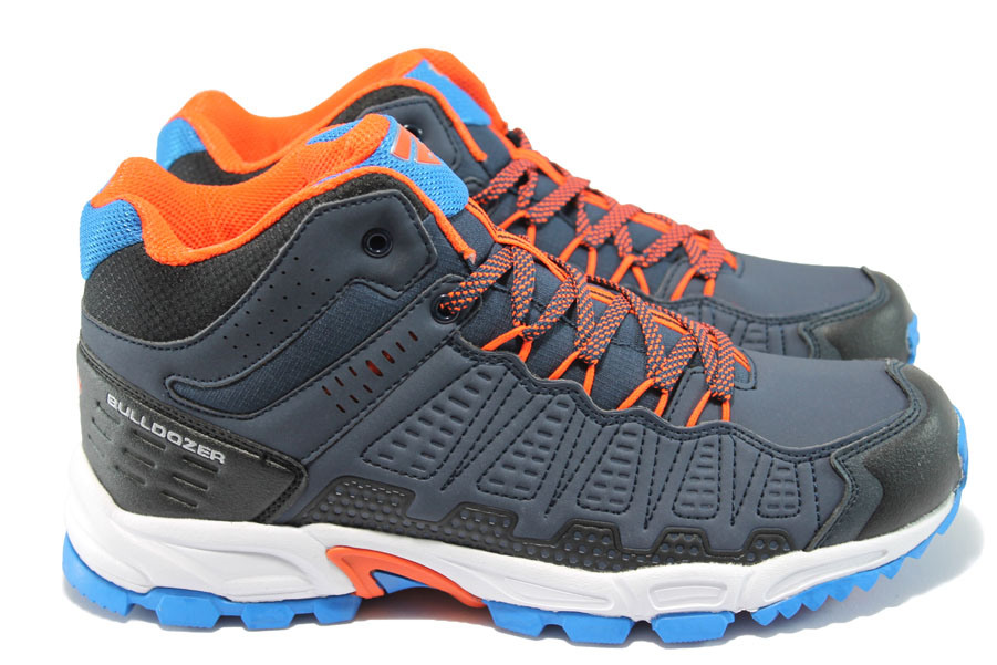 Спортни мъжки обувки - висококачествена еко-кожа - сини - БР 52007 син-оранж