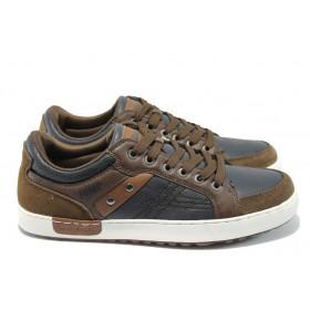 Спортни мъжки обувки - висококачествена еко-кожа - сини - Jump 11856 син-кафяв
