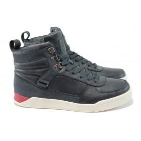 Спортни мъжки обувки - висококачествена еко-кожа - тъмносин - БР 52043 т.син