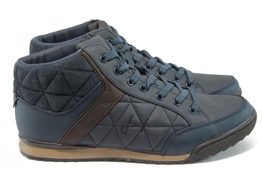Спортни мъжки обувки - висококачествена еко-кожа - тъмносин - Jump 4811 т.син