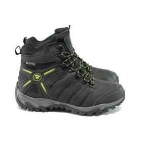 Мъжки боти - висококачествена еко-кожа - черни - БР 52138 черен-зелен