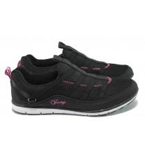 Дамски маратонки - висококачествен текстилен материал - черни - EO-7844