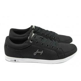 Спортни мъжки обувки - висококачествена еко-кожа - черни - EO-7832