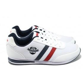 Спортни мъжки обувки - висококачествен текстилен материал - бели - EO-7833