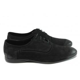 Мъжки обувки - естествен набук - черни - EO-5997