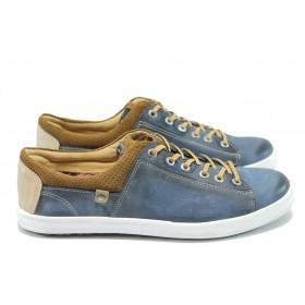 Спортни мъжки обувки - естествена кожа - сини - EO-6026