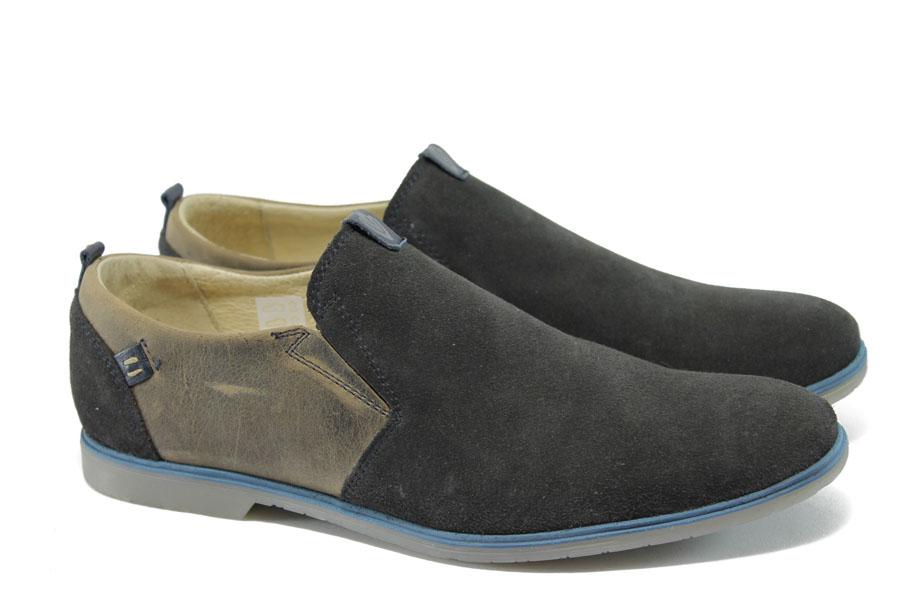 Мъжки обувки - естествен набук - черни - EO-6116