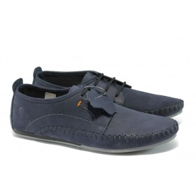 Мъжки обувки - естествен набук - сини - EO-6134